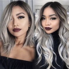 Lace Frontal Gray Wig Black Girl Headband Wigs Blue Wig With Bangs Wet N Wavy Weave 18 In Straight Weave Grey Hair Tan Skin, Grey Hair Wig, Shampoo For Gray Hair, Silver Blonde Hair, Platinum Blonde Hair, Headband Wigs, Ponytail Wig, Cabelo Ombre Hair, Balayage Hair