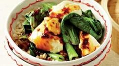 Steamed greens and tofu