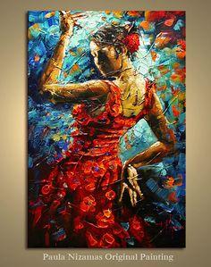 Flamenco Dancer original oil single canvas large painting from P.Nizamas