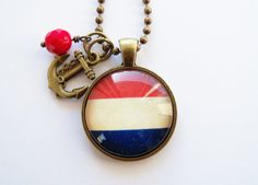 Flag of Holland Necklace  Netherlands  Dutch Flag  by OxfordBright