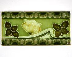 Antique 1900s English Art Nouveau Henry Richards Tile Co. Ltd flower pottery tile