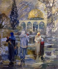 Of the works of the Palestinian artist Irina Naji Palestine Art, Palestine History, Dance Paintings, Great Paintings, Karbala Photography, Art Photography, History Photos, Art History, Dome Of The Rock