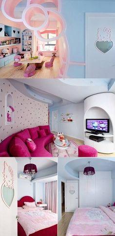 Hello Kitty House Home article at DecorPedia check out ! Hello Kitty Bedroom, Hello Kitty House, Hello Kitty Games, Living Pequeños, Living Rooms, Interior Exterior, Interior Design, Plafond Design, Kawaii Room