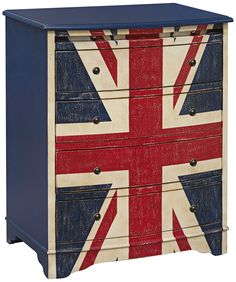 Add British pride to your decor with the charming Pulaski Union Jack Accent Chest. Festooned with a bold, hand-painted Union Jack, the unique accent chest is a unique as well as practical addition to your space. 4 Drawer Dresser, Chest Of Drawers, Storage Drawers, Chest Furniture, Painted Furniture, Furniture Ideas, Union Jack Bedroom, Union Jack Dresser, Union Jack Decor