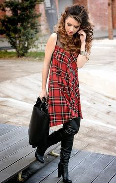 Dress detail on Shoulder Tartan Dress Leather Tote Tartan Dress, Tartan Plaid, Cute Fashion, Fashion Outfits, Carapace, Thigh High Boots, Dress Me Up, Fashion Forward, How To Wear