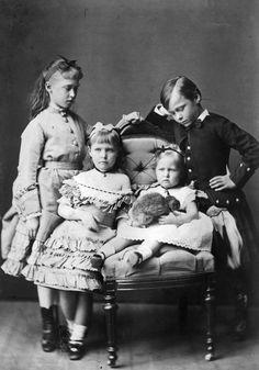 Princess Marie of Hesse with her elder siblings Irene, Alix and Ernest. Grandchildren of Queen Victoria.