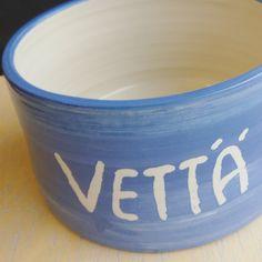 "Custom made dog bowl. ""vettä"" means water in Finnish."