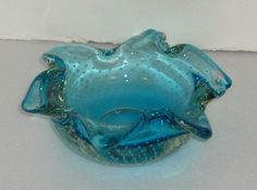 Sold by Erickson Exchange on etsy.  https://www.etsy.com/shop/EricksonExchange?ref=l2-shopheader-name Erickson Azure Blue Bon Bon Dish Hand Made in America 1950's Vintage Free Standard Shipping in the U.S.