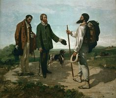 "Gustave Courbet, 'The Encounter (Bonjour, M. Courbet)', 1854  One-man show ""Le Realisme"", 1854"