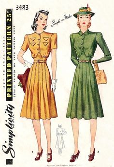 Simplicity 3483 dated 1940. Misses' Tailored Dress. Blouse gathers to yoke above waistline. Skirt consists of six pieces in front and three in back. Style I, blouse has flaps to simulate pockets. Short sleeves are darted in armhol. Style II has collar; long sleeves are darted in armhole.