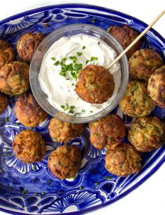 Savory Potato Aebleskivers are scrumptious, Danish-style potato pancake balls. Serve them as party appetizer or a game day snack with lemony dipping sauce.