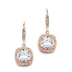 CZ Cushion Cut Wedding and Prom Earrings in Rose Gold - Affordable Elegance Bridal -