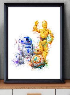 Star Wars R2-D2, BB-8, C-3PO Watercolor Art Poster Print - Wall Decor -  Watercolor Painting - Home Decor - Kids Decor - Nursery Decor by GenefyPrints on Etsy https://www.etsy.com/listing/256140125/star-wars-r2-d2-bb-8-c-3po-watercolor