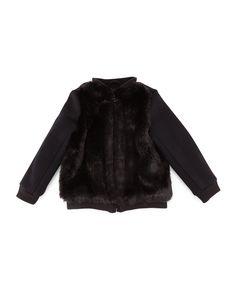 Faux-Fur-Trim Bomber Jacket, Black, Size S-XL, Women's, Size: MEDIUM - Vince