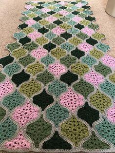 Mystical lanterns. Crochet granny blanket.