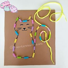 Preschool Shapes Activities - Thread Shoe Laces through Drinking Straws Preschool Shapes Activities - Thread Shoe Laces through Drinking Straws Motor Skills Activities, Toddler Learning Activities, Montessori Activities, Infant Activities, Kids Learning, Art Activities, Freetime Activities, Art For Kids, Crafts For Kids