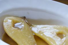 Champagne-Poached Pears in Caramel Sauce