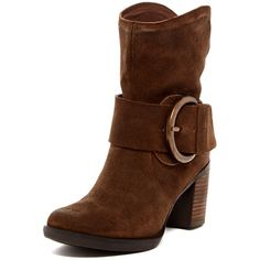 Miz Mooz Meli Boot ($89) ❤ liked on Polyvore featuring shoes, boots, ankle booties, ankle boots, brown, brown high heel boots, faux fur lined boots, high heel boots, leather boots and brown leather shoes