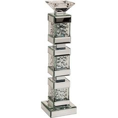 AICO Montreal Tall Mirrored Crystal Candle Holder by Michael Amini - Floor Sample on Clearance