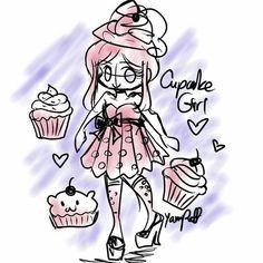 Cupcake Girl Sketch by YamPuff.deviantart.com on @DeviantArt