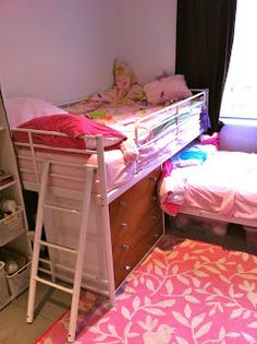 Materials: Tromso Loft Bed, HacksawDescription: The Tromso Loft bed was too tall for the kids room and I always loved the idea of have a loft bed over another b