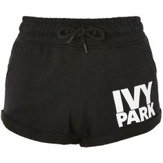 Logo Jersey Shorts by Ivy Park (1,645 INR) ❤ liked on Polyvore featuring activewear, activewear shorts, shorts, bottoms, sports clothes, black, sport jerseys, ivy park, ivy park activewear and logo sportswear