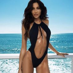 6d1b6e1904 Aliexpress.com   Buy 2017 Black Swimwear Women Hot Sexy One Piece Swimsuit  Hollow out Bathing Suit High Cut Swimsuit Mesh Swimming Suit Female from  Reliable ...