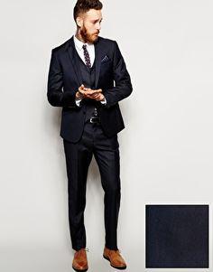 ASOS Slim Fit Plain Navy Suit in 100% Wool
