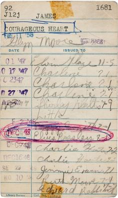13-year-old Elvis' library card... it would be so cool to say you own this.