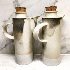 Len Carella Ceramics-14 oz. porcelain tea pots with Shino glaze and natural cork stopper.