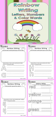 "Students will love practicing letters, numbers and color words as they practice correct formation ""rainbow style"" using three or more colored pencils or crayons. Students will also practice on lined paper and work on drawing pictures to represent beginning sounds, number sets and color words."