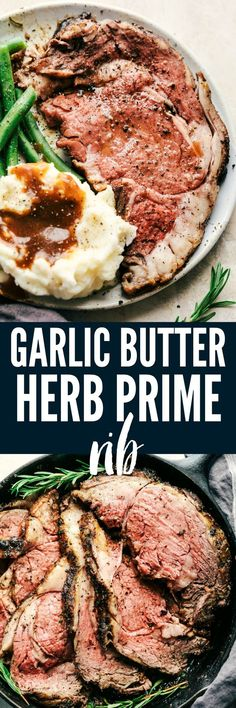 Garlic Butter Herb Prime Rib Garlic Butter Herb Prime Rib is melt in your mouth tender and juicy prime rib that is cooked to medium rare perfection and marbled with fat. The seared garlic butter herb crust is incredible! Rib Recipes, Dinner Recipes, Cooking Recipes, Game Recipes, Recipies, Dinner Ideas, Beef Dishes, Food Dishes, Main Dishes