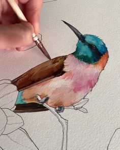 """I always connect the figure to the background. Drawing is critical for the figu… – Kuş sanat – Malerei Bird Drawings, Art Drawings Sketches, Art Sketches, Drawing Birds, Love Birds Painting, Watercolor Bird, Watercolor Illustration, Simple Watercolor, Watercolor Landscape"