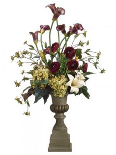 Calla Lily Hydrangea- Large Silk Floral Centerpiece A decorative vase adds further appeal to the beauty in this silk floral design. The two different types of Lilies that make up this arrangement will really spice up your décor. Tall Flower Arrangements, Tall Flowers, Floral Centerpieces, Table Centerpieces, Silk Arrangements, Pretty Flowers, Calla Lillies, Calla Lily, Different Types Of Lilies