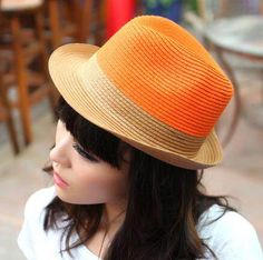 af761bf99770a Orange color block straw sun hat for women UV protection fedora hats