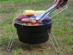 This travel grill, discovered by The Grommet, doubles as a charcoal grill or campfire grate that's perfect for your next bbq, tailgate, or camping trip.  $49.95
