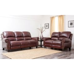 Madison Leather Pushback Reclining Sofa And Chair Set In Burgundy By Abbyson  Living By Abbyson Living. $2565.44. Brass Colored Nail Head Trims Add U2026