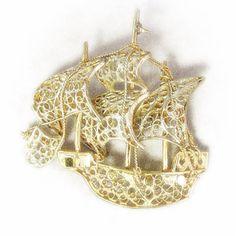 Stunning Antique Filigree 800 Silver Gold Washed Ship Brooch by VintageVegasGems, $68.00