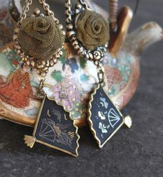 Assemblage Earrings Asian fans brass mesh roses by OldNouveau