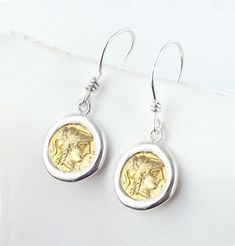 Gold Coin Earrings, Athena, Wisdom -  18k GP - Sterling Silver Ancient Coin Earrings