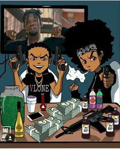 Dope Cartoons, Dope Cartoon Art, Girl Cartoon, Swag Cartoon, The Boondocks Cartoon, Boondocks Drawings, Anime Rapper, Rapper Art, Arte Do Hip Hop