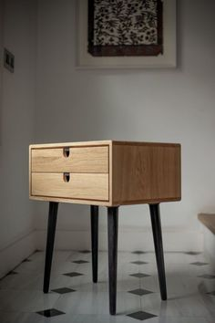 Mid-Century Scandinavian bedside Table / Nightstand – Two drawers and retro legs made of solid oak Mid Century Modern Eiche Nachttisch mit Doppelschubladen Diy Furniture, Furniture Design, Plywood Furniture, Vintage Furniture, Compact Furniture, Furniture Storage, Furniture Online, Furniture Companies, Handmade Furniture