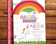 Invitación fiesta de unicornio arco iris mágico por ArtfulMonkeys