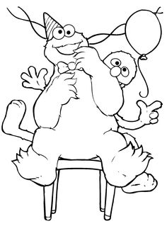Cookie Monster Musical Chairs Coloring Pages