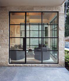 Look at this trendy garage door makeover - what a clever conception Garage Door Styles, Garage Door Design, Glass Garage Door, Glass Doors, Garage Doors, Steel Doors And Windows, House Extensions, Single Doors, Window Design