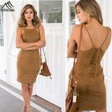 womens summer dresses fashion Suede dress sheath slim sexy casual dresses backless hollow out beach bandage dress vestidos