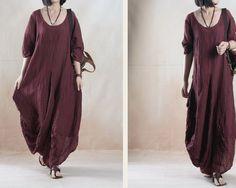 Maxikleider - Literary Women wrinkled linen ramie loose dresses - ein Designerstück von DuDuFashion bei DaWanda