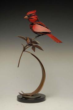 Cardinal | by artist Don Rambadt | Bronze & Steel