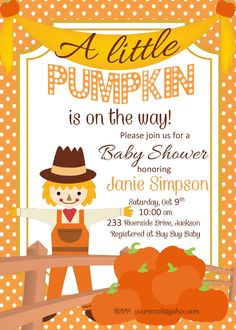 DIY Printable Baby Shower Invitation with Pumpkin Scarecrow Fall Colors A Little Pumpkin is On the Way!  Baby Shower Girl | Boy Baby Shower by PerfectedbyGrace on Etsy