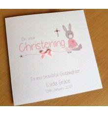 Handmade Personalised Christening Card